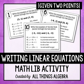 writing linear equations given two points math lib by all things algebra. Black Bedroom Furniture Sets. Home Design Ideas