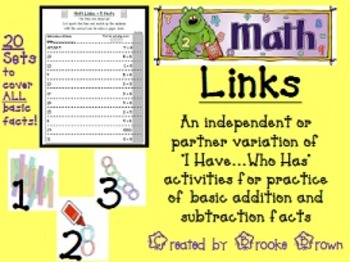"""""""Math Links"""" {ALL Basic Addition and Subtraction Facts}"""