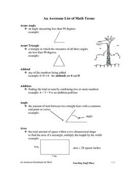 LISTS | HANDBOOK for MATH UNIT | TEST PREP RESOURCES | Gr. 3-4-5
