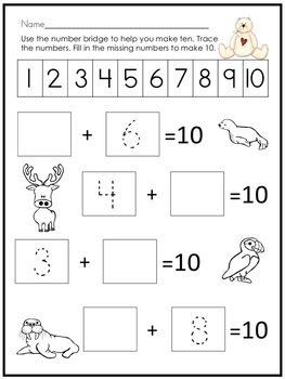 Math and Literacy Activities for Kindergarten & First Grade Arctic Themed