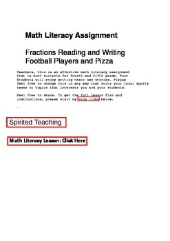 Math Literacy Assignment for the 4th Grade