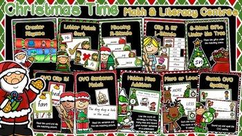 Math & Literacy Centers - Christmas Themed