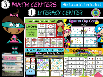 Math & Literacy Centers ~ Hands On! Bin Labels Included!