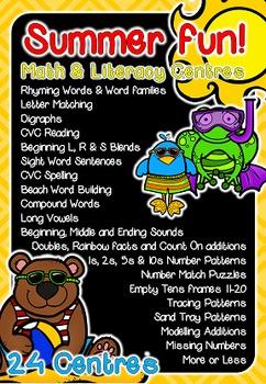 Math & Literacy Centers - Summer Themed