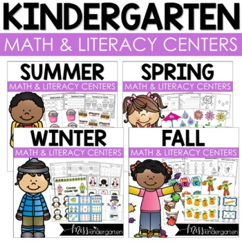 Kindergarten Math and Literacy Centers for the Year!