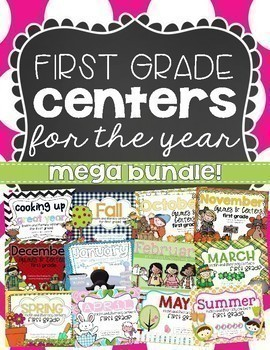 Math & Literacy Centers for the Year {first grade growing