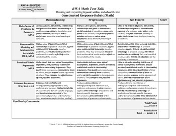 Math Literacy Constructed Response Rubric