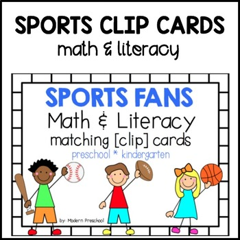 Math & Literacy Matching Clip Cards - SPORTS FANS BUNDLE