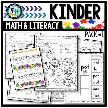 Kindergarten Math & Literacy Worksheets (Pack #1)