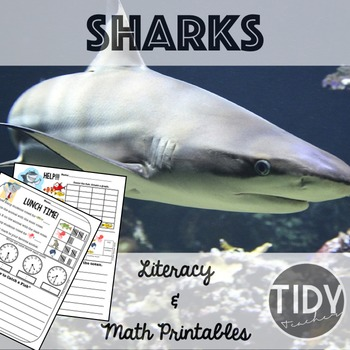 Graphing, Writing, Addition, & Telling Time Printables for first grade! (Sharks)