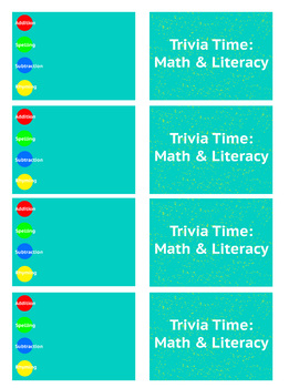 Math & Literacy Trivia Card Template