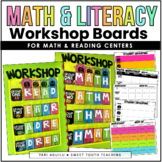 Math & Literacy Workshop Boards   EDITABLE  Math Centers   Reading Centers