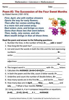 Math + Language Arts: Literature/Poetry Activity Worksheet Poem #3 Math Analysis