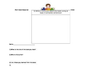 Math Literature Response Sheet