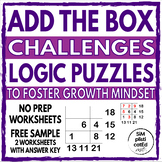 Math Logic Addition Puzzle Box Challenges to Foster Growth Mindset - Free Sample