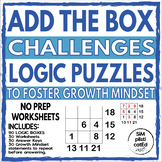 Math Logic Addition Puzzle Box Challenges to Foster Growth Mindset - No Prep