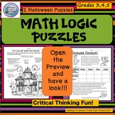 Math Logic Puzzles, Halloween Brain Teasers, Critical Thinking, Early Finishers