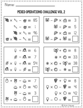 Math Logic Puzzles Mixed Operations CHALLENGE Volume 2
