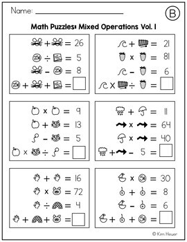 Math Logic Puzzles: Mixed Operations Volume 1