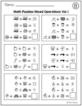 Math Logic Puzzles Mixed Operations Volume 1