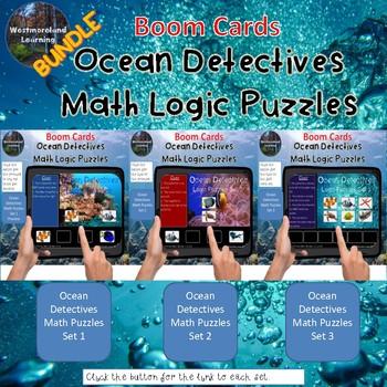 Math Logic Puzzles Ocean Detectives Interactive Boom Cards BUNDLE