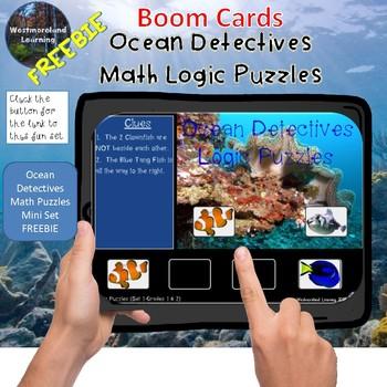 Math Logic Puzzles Ocean Detectives Boom Cards MINI SET FREEBIE