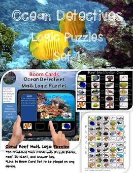 Math Logic Puzzles Ocean Set 1 Printable Task Cards & Interactive Boom Cards