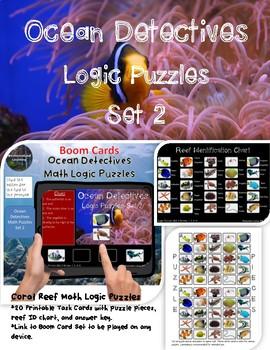 Math Logic Puzzles Ocean Set 2:  Printable Task Cards & Interactive Boom Cards