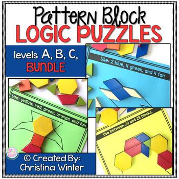 Math Logic Puzzles Shapes ----> levels A,B,C BUNDLE