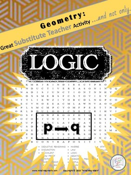 Word Search Logic Substitute teacher activity HS Geometry