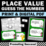Place Value Word Problems Task Cards, Guess the Number Game