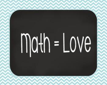 Poster Math = Love. Chevron and Blackboard Design