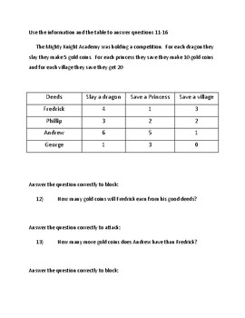 Math M-Step Test Prep Game 3rd Grade (Dragon's Duel Game)