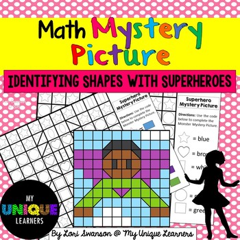 Math MYSTERY PICTURE Puzzle- Identifying Shapes with Superheroes