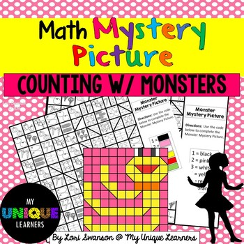 Math MYSTERY PICTURE Puzzle- Counting with Monsters