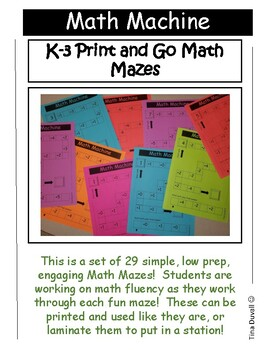 Math Machine K-3 Print and Go Math Mazes
