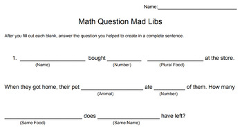 Math Mad Libs - All 4 Operations
