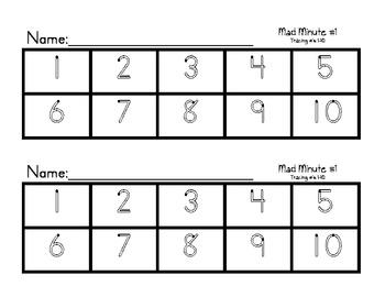 Math Mad Minutes- Kindergarten