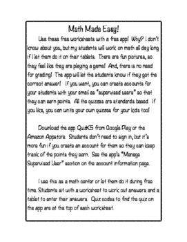 Math Made Easy! Free First Grade Math Worksheets to go wit