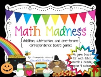 Math Madness Board Games: addition, subtraction, and one-to-one correspondence