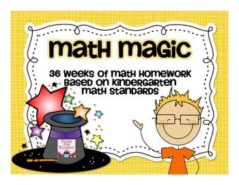 Math Magic:  A Year of Homework Based on the Kindergarten Standards
