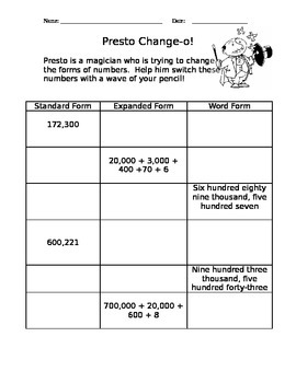 Math Magic: Changing Forms of Numbers