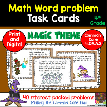 4th Grade Math Magic Word Problem Task Cards for Common Core 4.OA.A.2