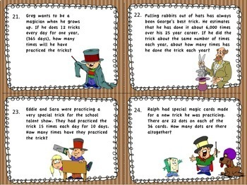 Math Magic Word Problem Task Cards for 4th Grade Common Core 4.OA.A.2