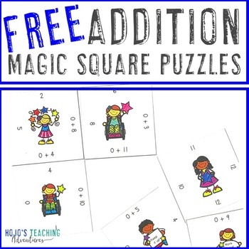 FREE Addition Facts Magic Square Puzzle Game or Math Center Activity