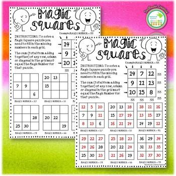 Math Magic Squares Worksheet