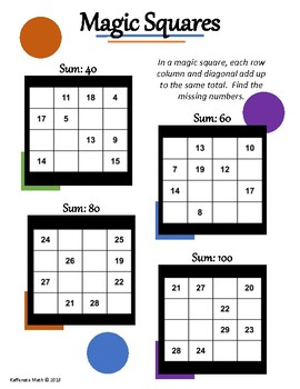 Math Magic Squares