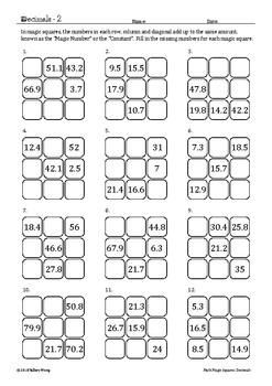 Math Magic Squares - Operations with Positive Decimals