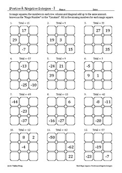Math Magic Squares - Positive and Negative Integers