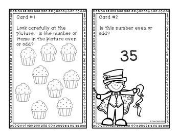 Even or Odd?  Task Cards Common Core 2.OA.C3 Grades 1-2 Math Magician